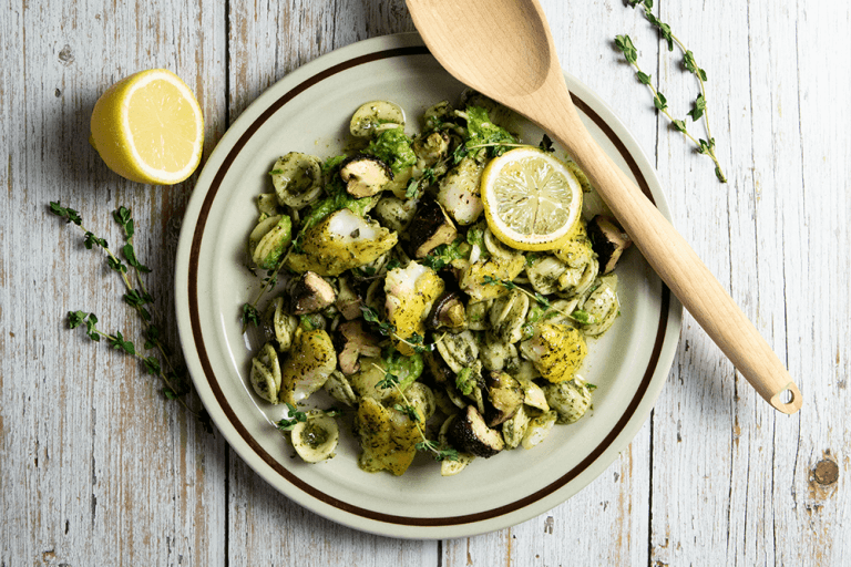Delightfully Light Citrus & Thyme Fish Pasta