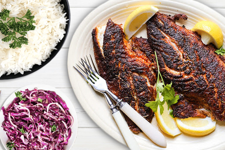 Blackened Tilapia with Long Grain Rice and Purple Cabbage